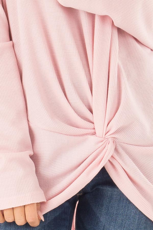 Bubblegum Pink Long Sleeve V Neck Sweater with Twist Detail detail