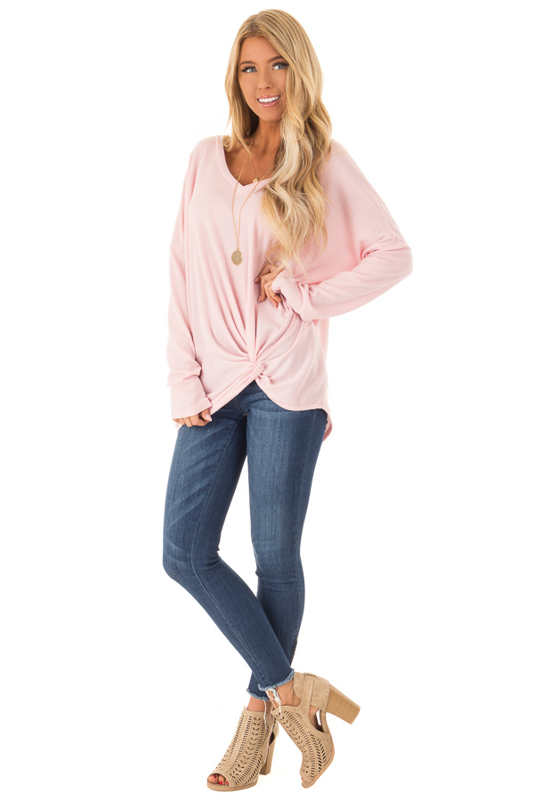 Bubblegum Pink Long Sleeve V Neck Sweater with Twist Detail front full body
