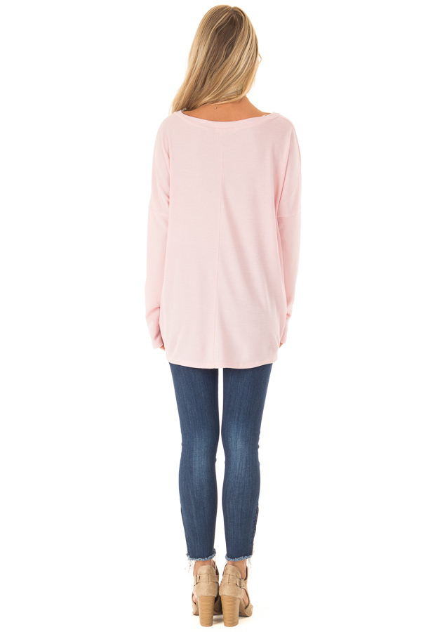 Bubblegum Pink Long Sleeve V Neck Sweater with Twist Detail back full body
