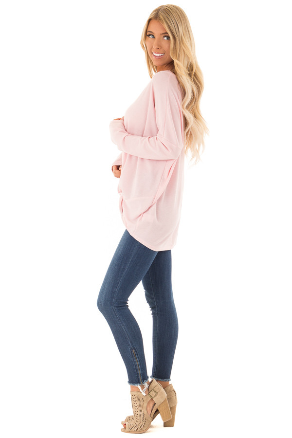 Bubblegum Pink Long Sleeve V Neck Sweater with Twist Detail side full body