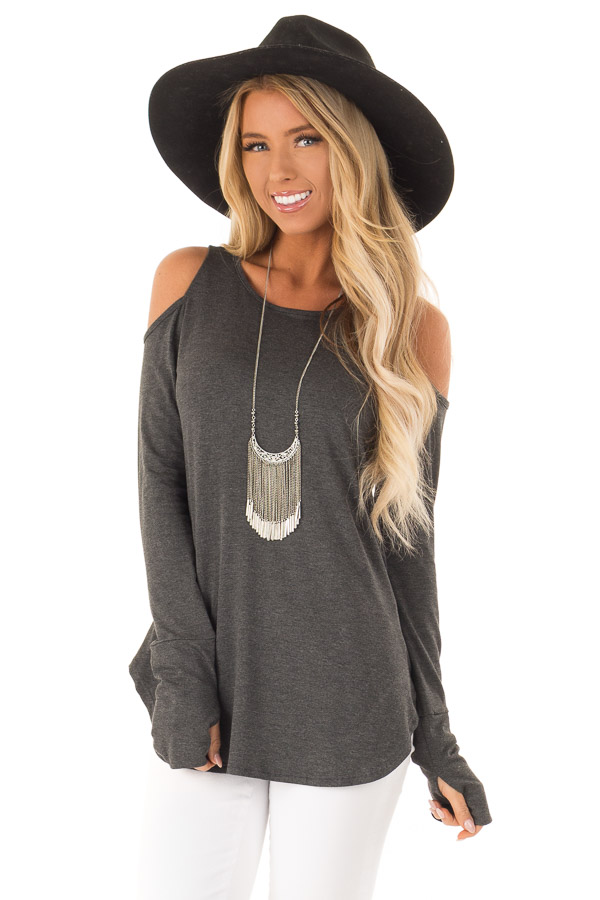 Charcoal Cold Shoulder Long Sleeve Soft Knit Top front close up