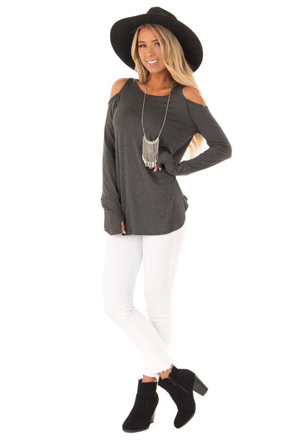 Charcoal Cold Shoulder Long Sleeve Soft Knit Top front full body
