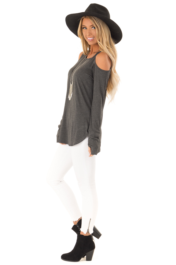 Charcoal Cold Shoulder Long Sleeve Soft Knit Top side full body