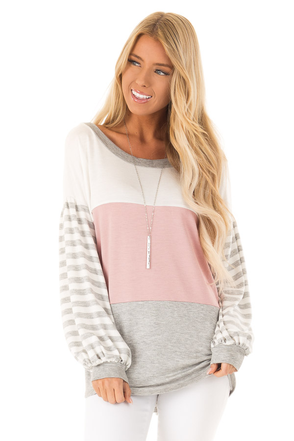 Dusty Blush Color Block Top with Striped Balloon Sleeves front close up