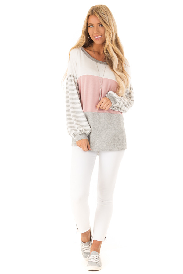 Dusty Blush Color Block Top with Striped Balloon Sleeves front full body