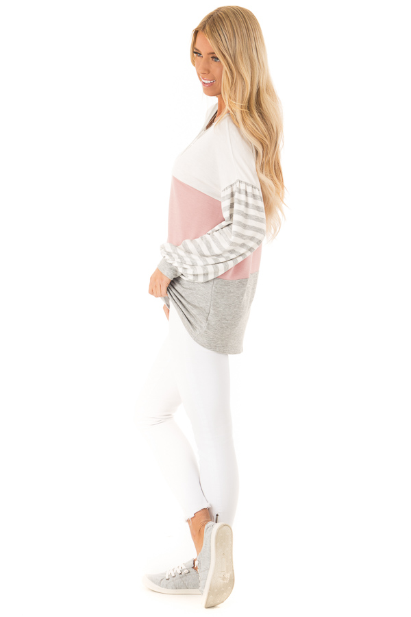 Dusty Blush Color Block Top with Striped Balloon Sleeves side full body