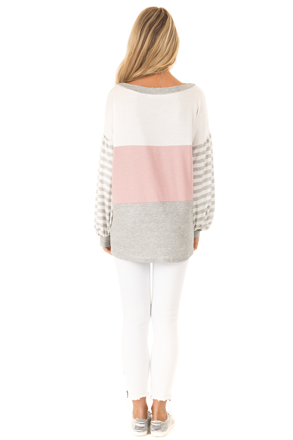 Dusty Blush Color Block Top with Striped Balloon Sleeves back full body