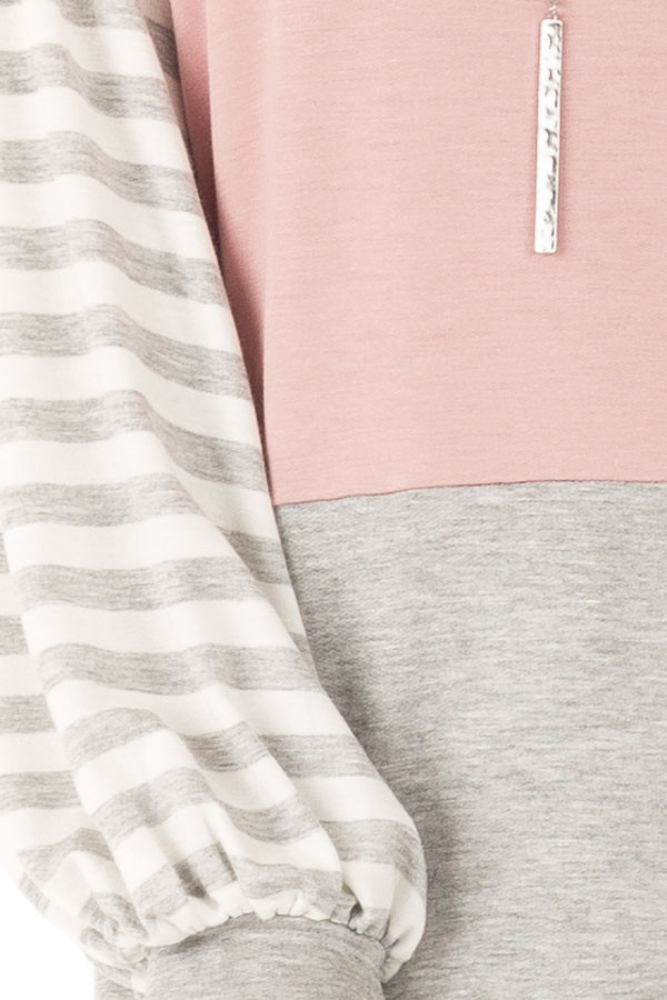 Dusty Blush Color Block Top with Striped Balloon Sleeves detail