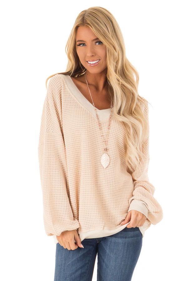 Champagne Long Sleeve Waffle Knit V Neck Top front close up