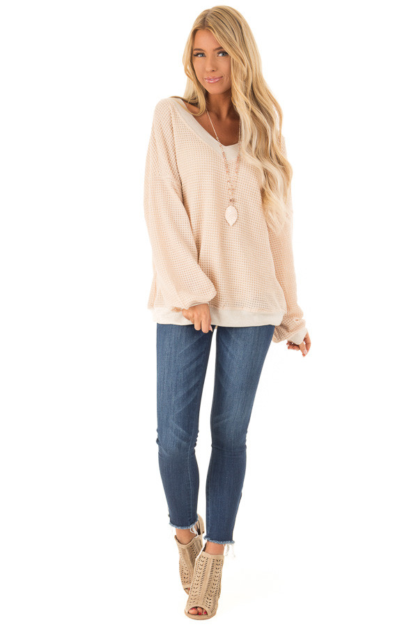 Champagne Long Sleeve Waffle Knit V Neck Top front full body