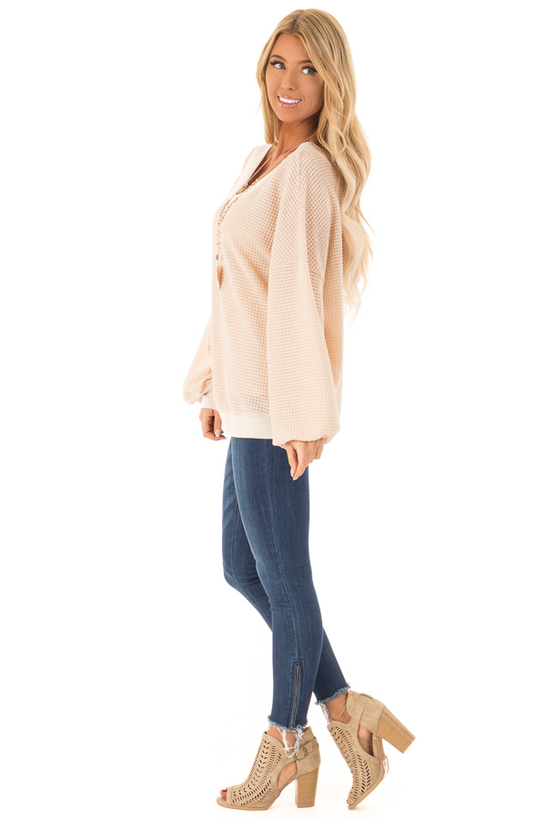 Champagne Long Sleeve Waffle Knit V Neck Top side full body