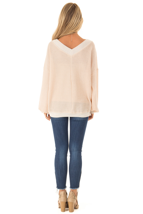 Champagne Long Sleeve Waffle Knit V Neck Top back full body
