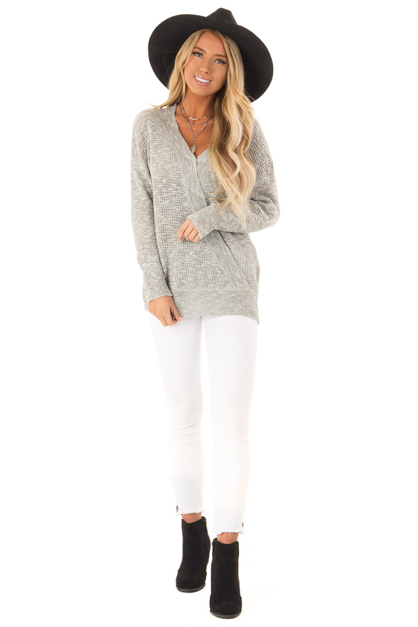 Heather Grey Waffle Knit Long Sleeve Top with Wrap Detail front full body