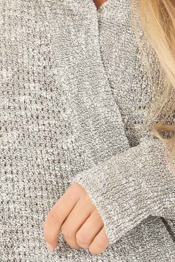 Heather Grey Waffle Knit Long Sleeve Top with Wrap Detail detail