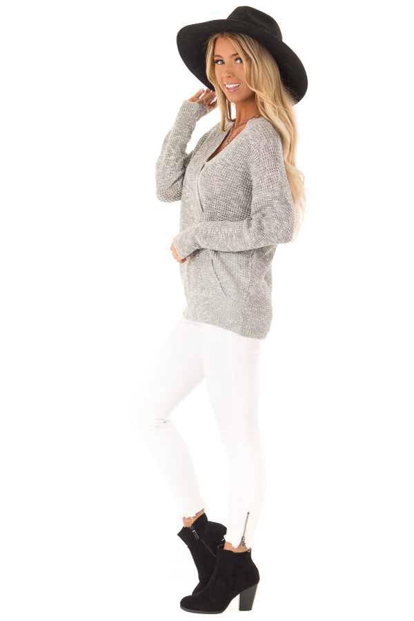 Heather Grey Waffle Knit Long Sleeve Top with Wrap Detail side full body