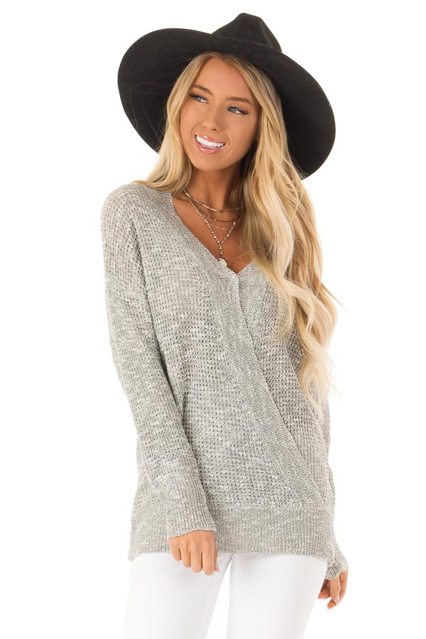 Heather Grey Waffle Knit Long Sleeve Top with Wrap Detail front close up