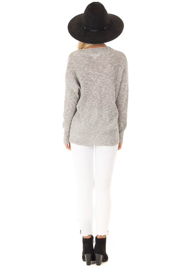 Heather Grey Waffle Knit Long Sleeve Top with Wrap Detail back full body