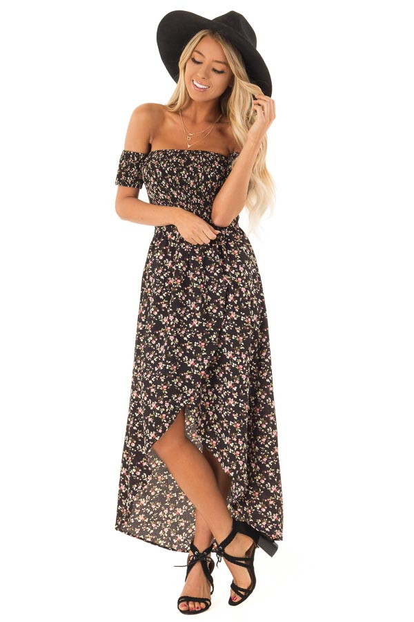 9bc358a718ba Black Floral Off Shoulder High Low Dress with Wrap Detail front full body
