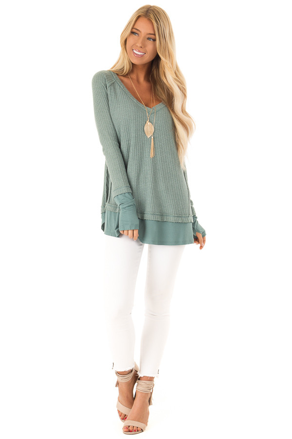 Dusty Seafoam Layered V Neck Long Sleeve Thermal Top front full body