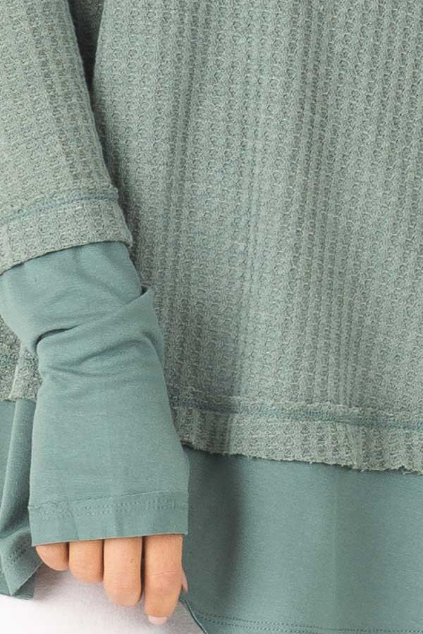 Dusty Seafoam Layered V Neck Long Sleeve Thermal Top detail