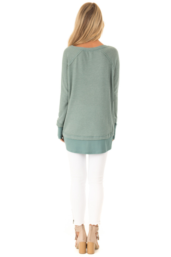 Dusty Seafoam Layered V Neck Long Sleeve Thermal Top back full body