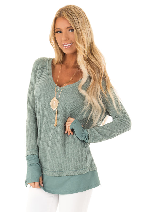 Dusty Seafoam Layered V Neck Long Sleeve Thermal Top front close up