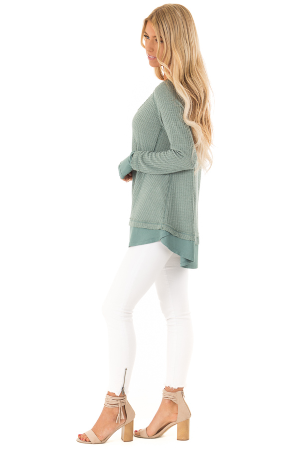 Dusty Seafoam Layered V Neck Long Sleeve Thermal Top side full body