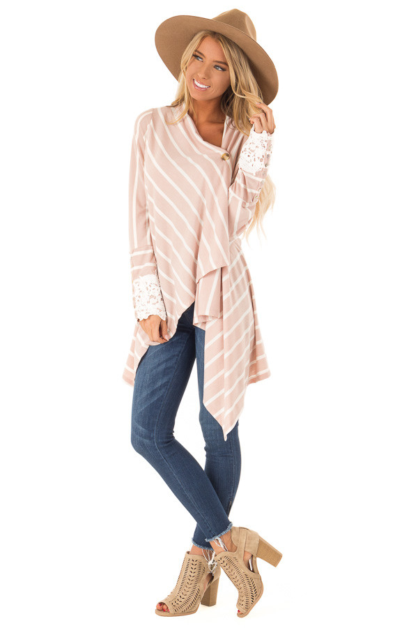 Blush and Ivory Striped Draped Cardigan with Lace Detail front full body