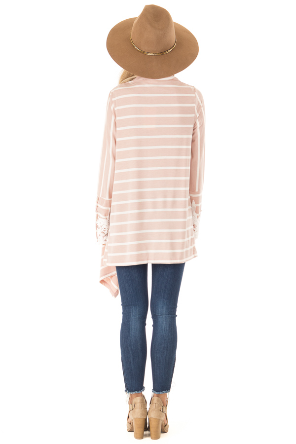 Blush and Ivory Striped Draped Cardigan with Lace Detail back full body