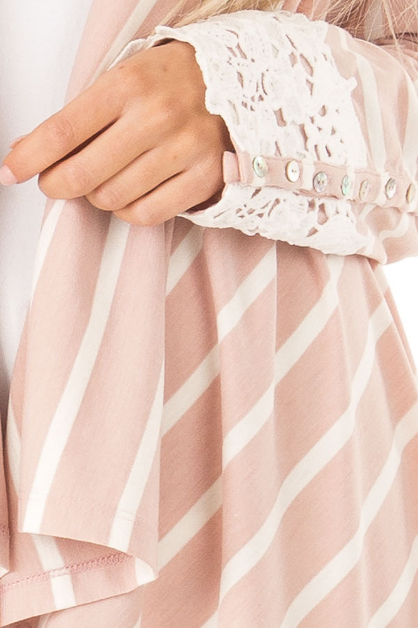 Blush and Ivory Striped Draped Cardigan with Lace Detail detail