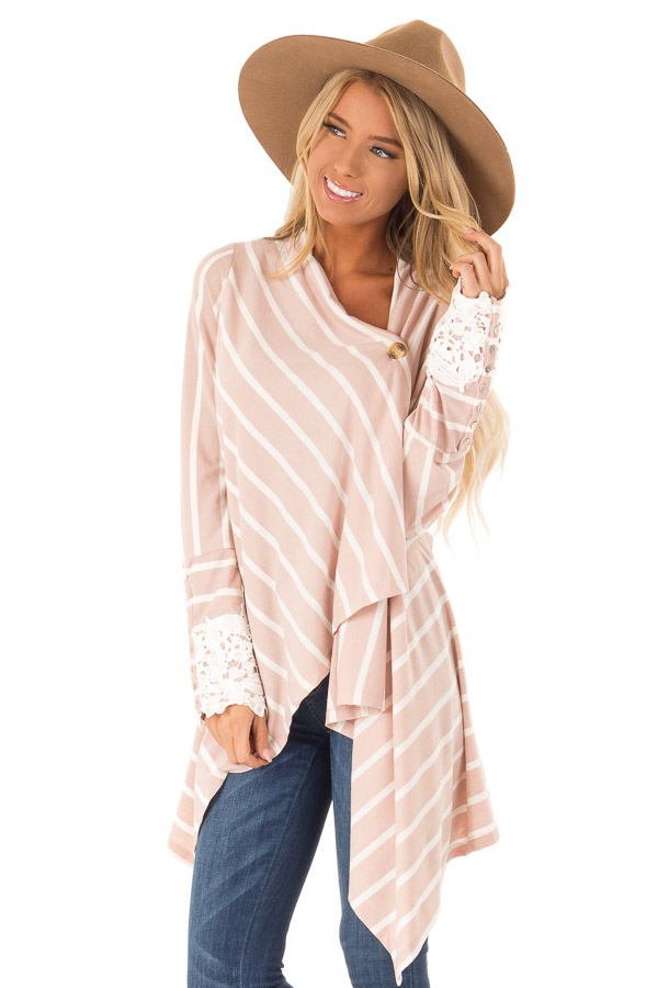 Blush and Ivory Striped Draped Cardigan with Lace Detail front close up