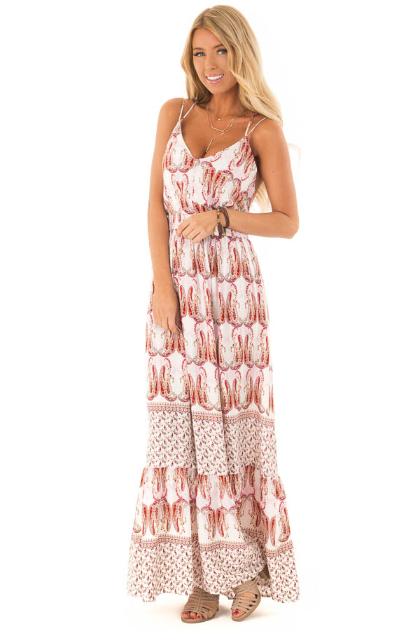Baby Pink and Ivory Paisley Print Spaghetti Strap Maxi Dress front full body