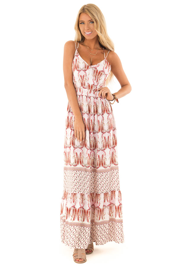 Baby Pink and Ivory Paisley Print Spaghetti Strap Maxi Dress front close up