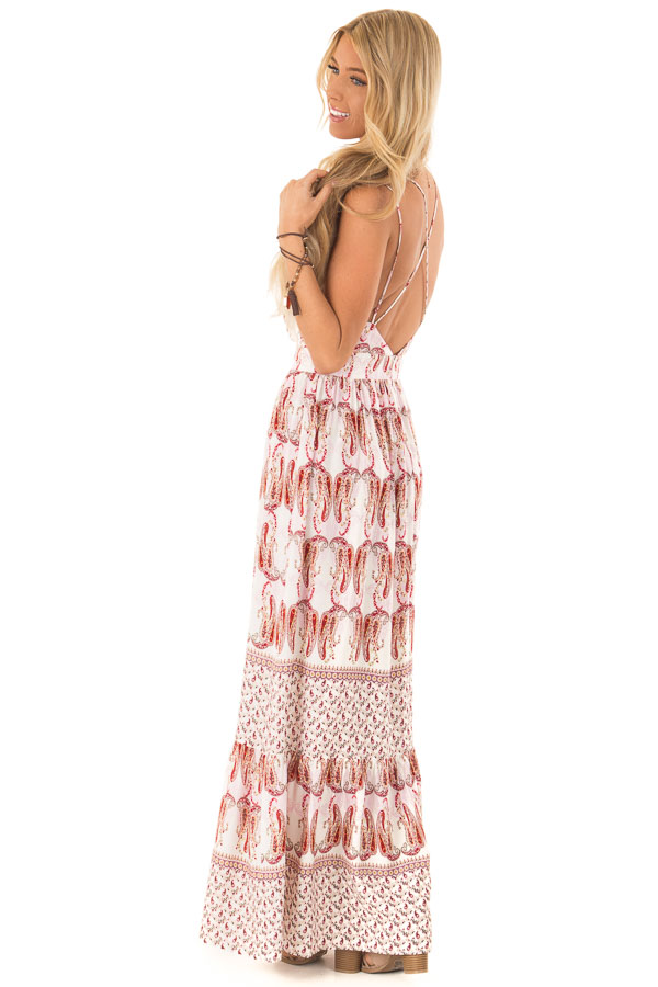 Baby Pink and Ivory Paisley Print Spaghetti Strap Maxi Dress side full body