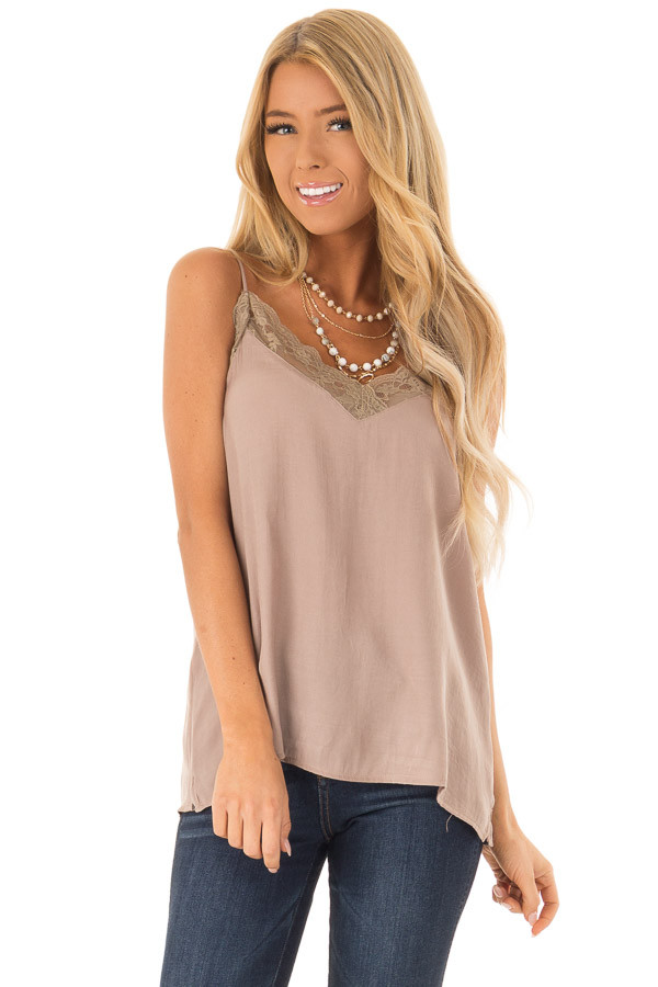2ba2a22300f Mocha V Neck Tank Top with Lace Detail - Lime Lush Boutique