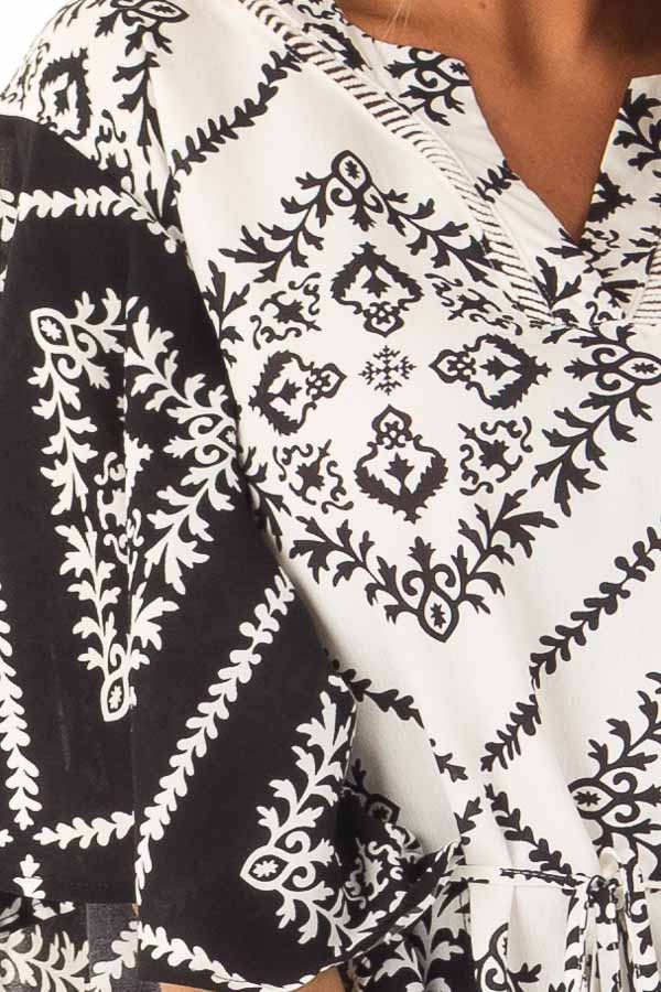 Black and White Damask Print Flowy Ruffle Top with Back Tie detail