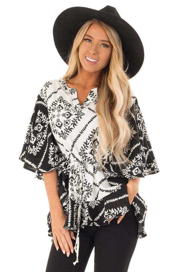 Black and White Damask Print Flowy Ruffle Top with Back Tie front close up