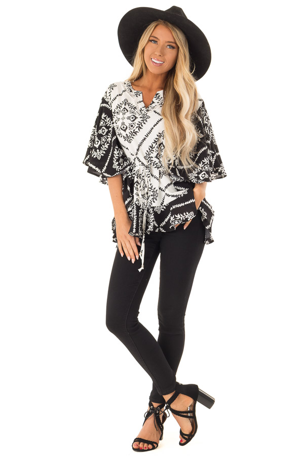 Black and White Damask Print Flowy Ruffle Top with Back Tie front full body