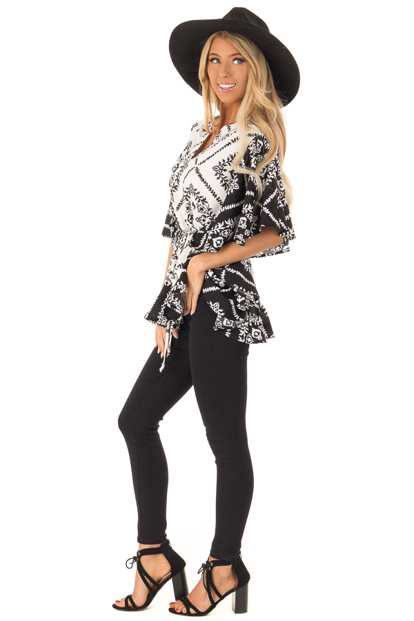 Black and White Damask Print Flowy Ruffle Top with Back Tie side full body