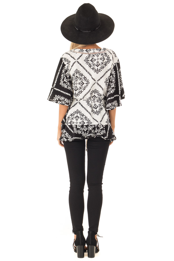 Black and White Damask Print Flowy Ruffle Top with Back Tie back full body