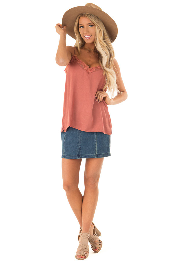 Dusty Rust V Neck Tank Top with Lace Detail front full body