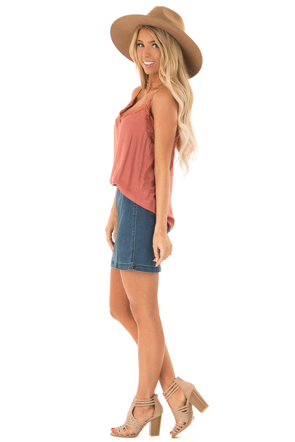 Dusty Rust V Neck Tank Top with Lace Detail side full body