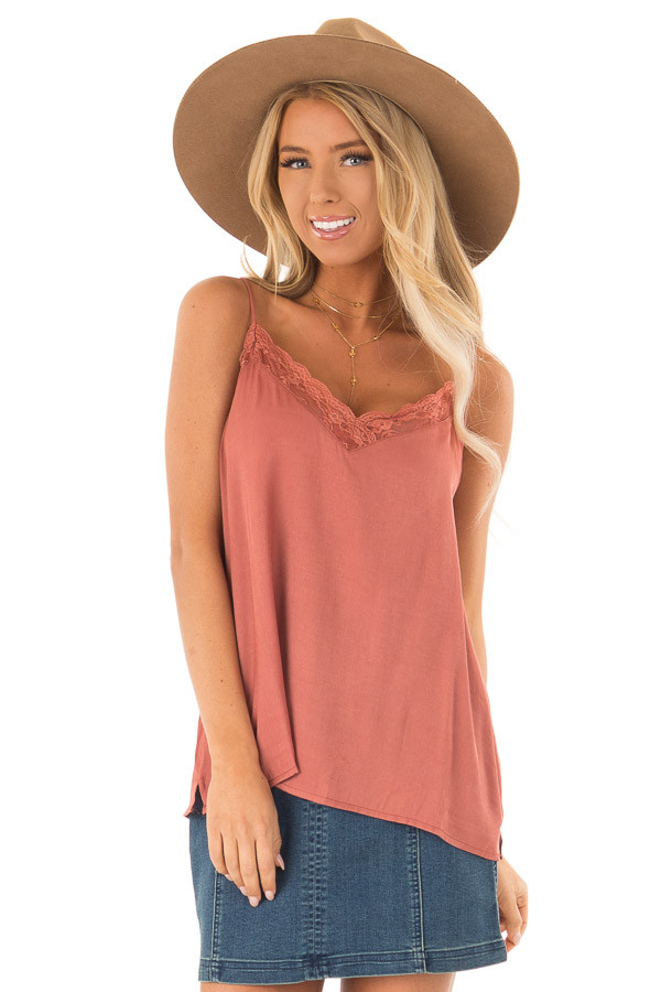 Dusty Rust V Neck Tank Top with Lace Detail