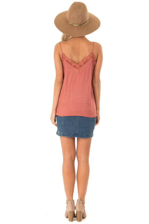 Dusty Rust V Neck Tank Top with Lace Detail back full body