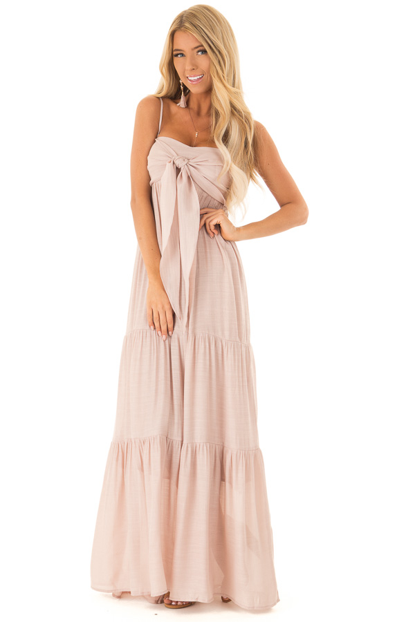 Light Blush Tiered Maxi Dress with Front Tie Detail front close up