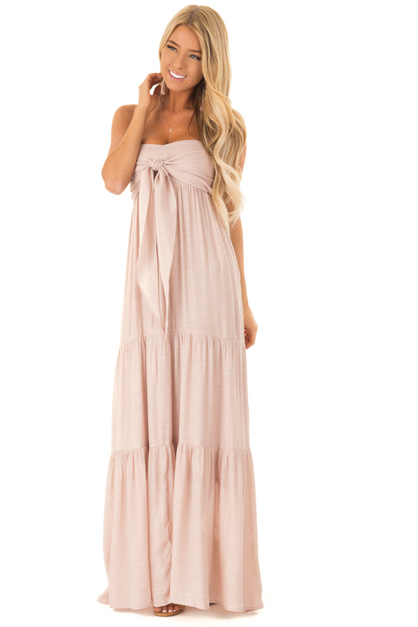 Light Blush Tiered Maxi Dress with Front Tie Detail front full body