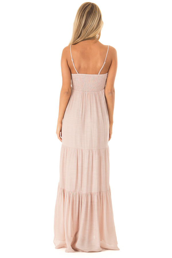 Light Blush Tiered Maxi Dress with Front Tie Detail back full body