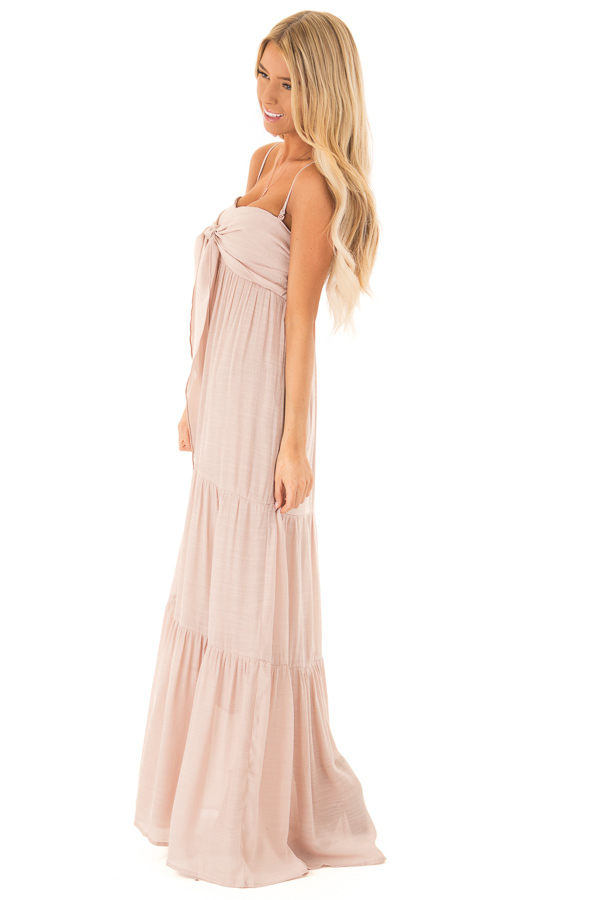 Light Blush Tiered Maxi Dress with Front Tie Detail side full body