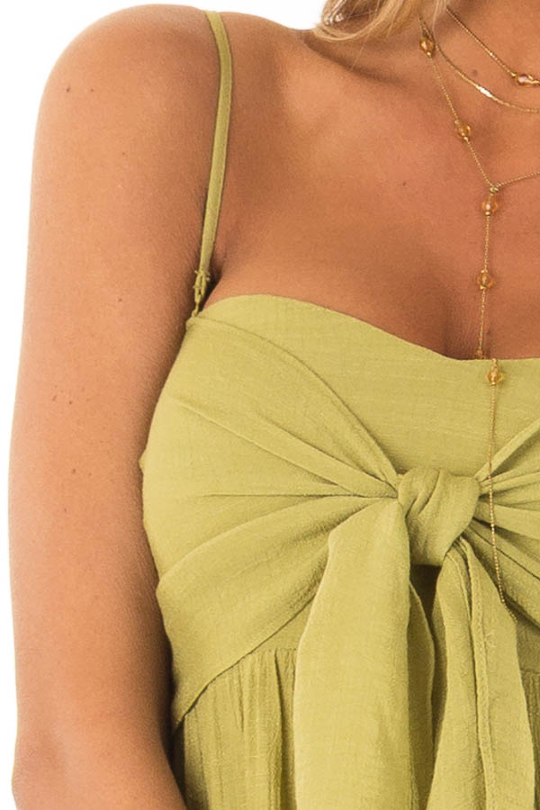 Avocado Tiered Maxi Dress with Front Tie Detail detail