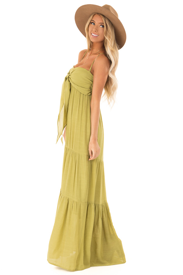Avocado Tiered Maxi Dress with Front Tie Detail side full body